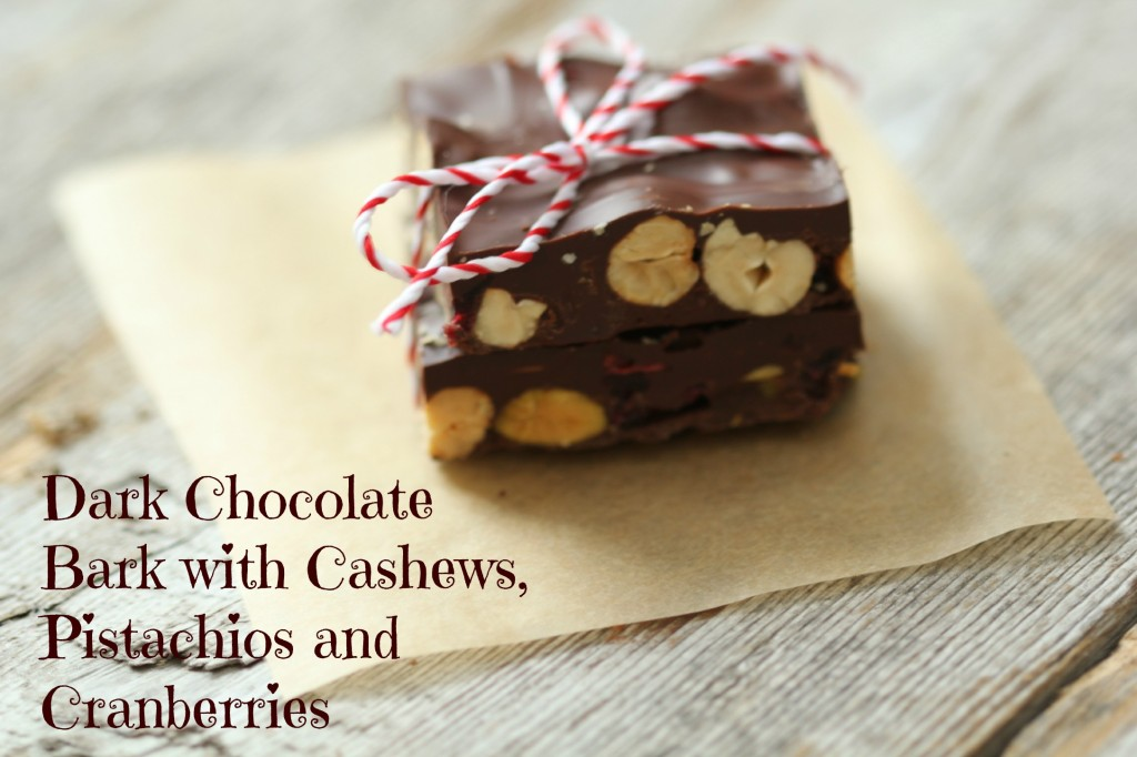 Dark chocolate Bark with Cashews, Pistachios and Cranberries