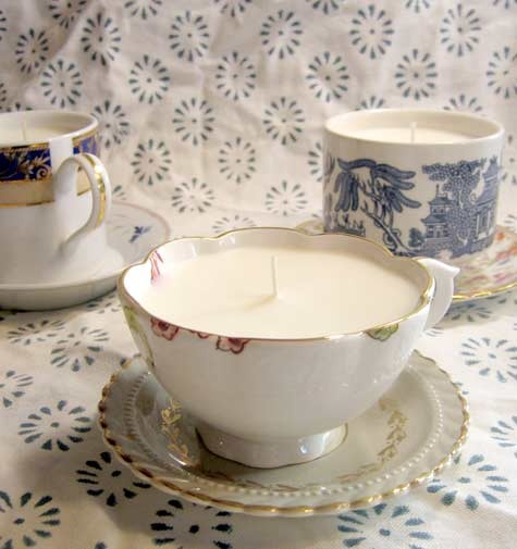 tea cup candles via design sponge