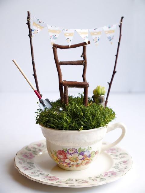 tea cup fairy garden via Living Crafts Blog