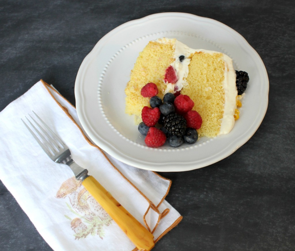 Lemon Mousse Cake with Berries