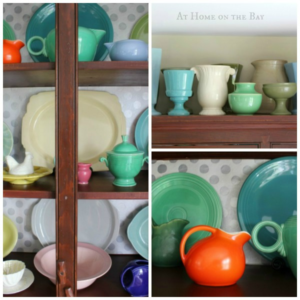 Cupboard with colorful vintage dishes