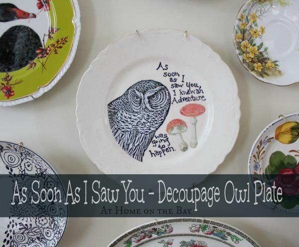 As Soon As I Saw You \u2013 Decoupage Owl Plate