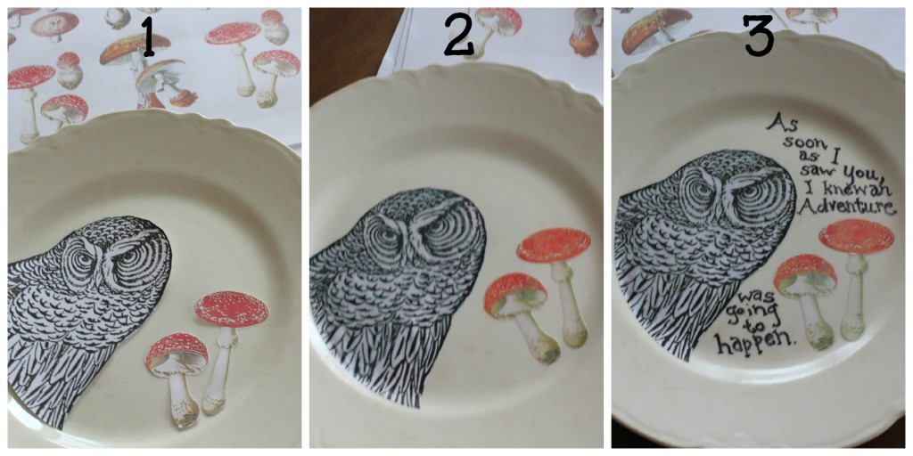 step by step instructions for decoupage owl plate