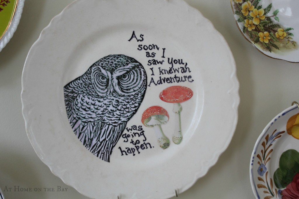 owl decoupage plate instructions