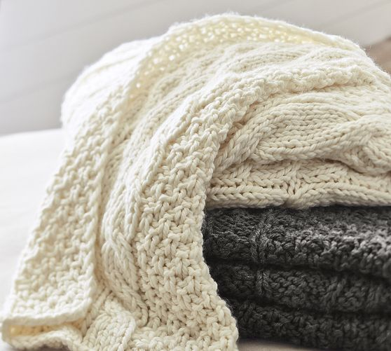 chunky cable knit oversized throw pb