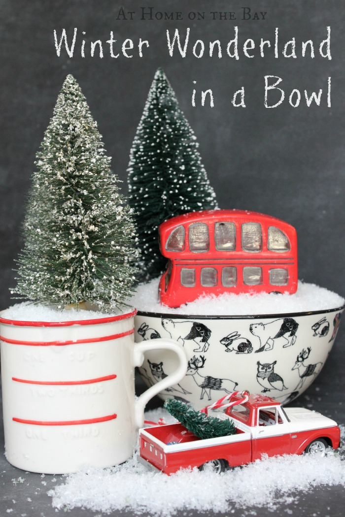 winter wonderland in a bowl - an easy tutorial - At Home on the Bay