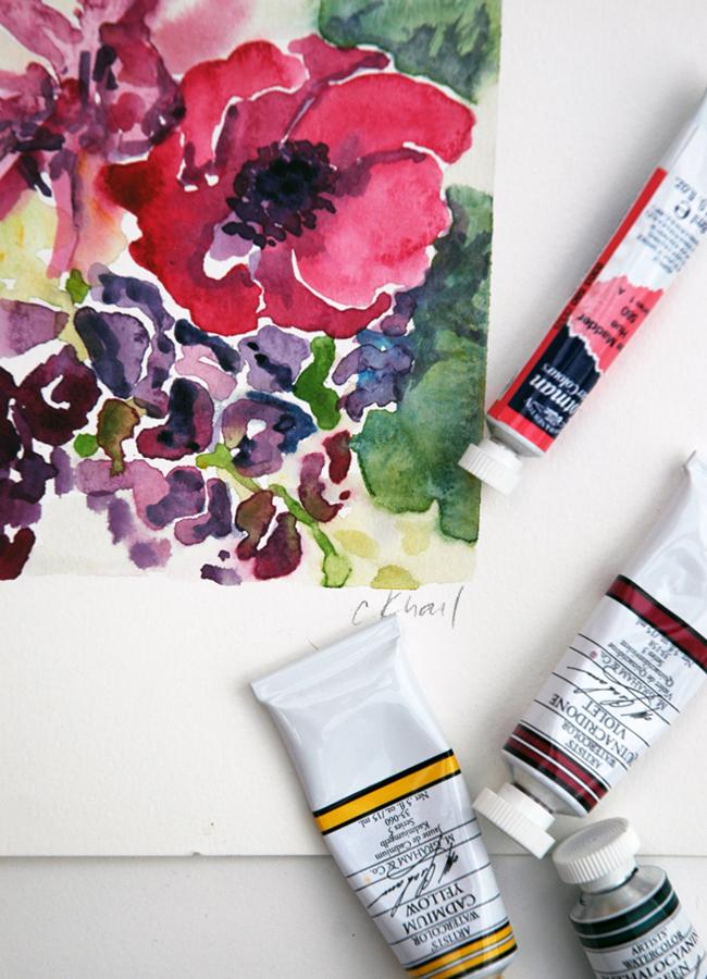 Courtney Khail online watercolor flower course $10
