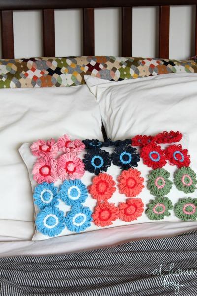 yarn flower pillow