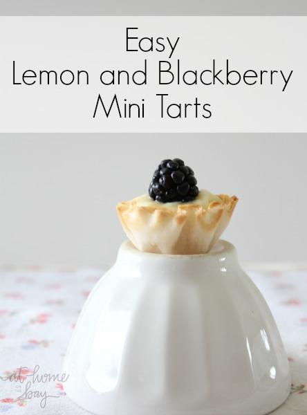 easy lemon and blackberry mini tarts - no bake