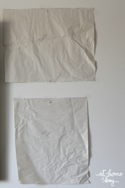 templates taped to wall