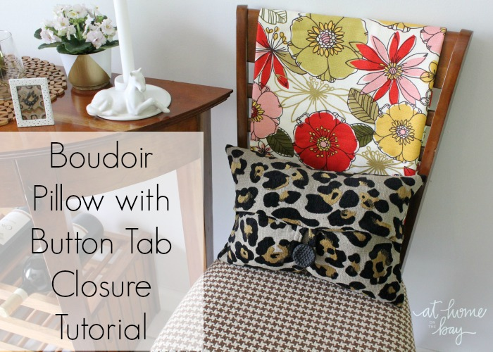 Fun boudoir pillow with button tab closure from At Homeon the Bay