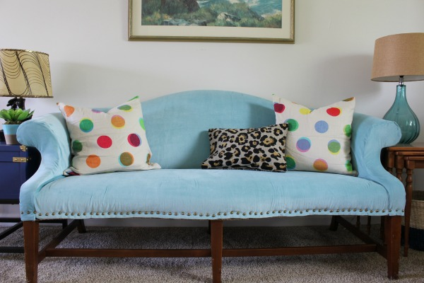 diy upholstered sofa with ikea curtains