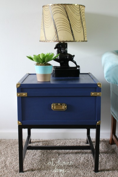 Attractive Royal Blue Campaign Side Table