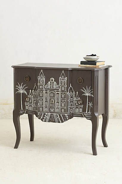 Anthro handpainted architecture chest $698