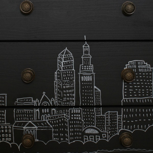 Ikea Rast makeover close up - Cleveland skyline