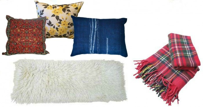 Pillows, rug and throw from Chairish