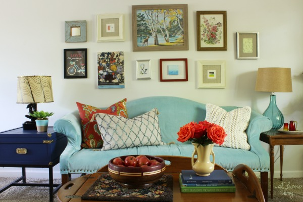 vintage-eclectic living room tour