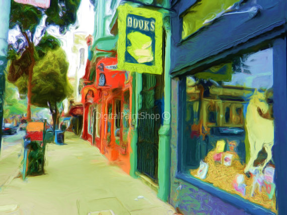 haight street booksmith digital downloadartwork from DigitalPaintShop Etsy
