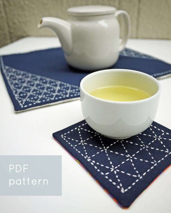 sashiko pattern triangle coaster pdf pattern from SakePuppets Etsy Shop