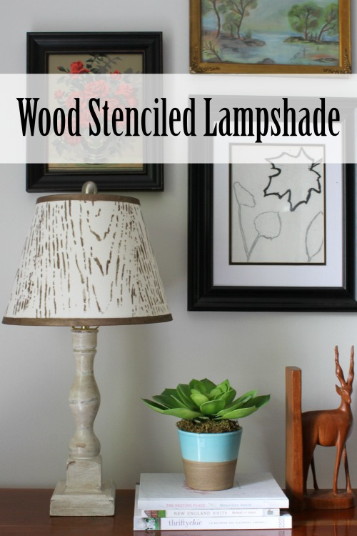 Wood Stenciled Lampshade Tutorial from At Home on the Bay #plaidcrafts