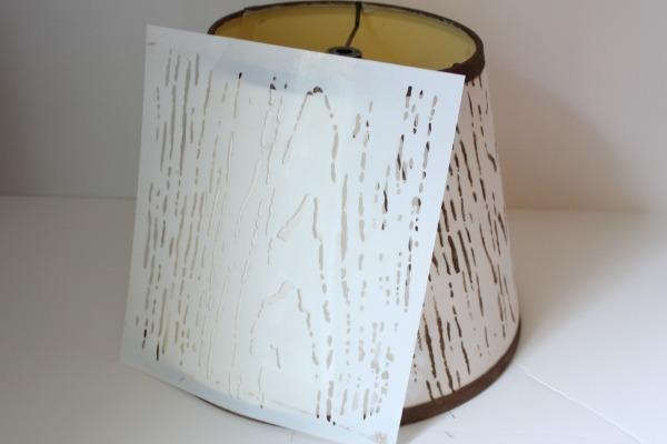 faux wood stenciled lampshade