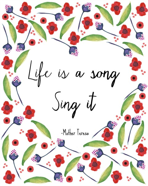 Life is a Song - Free Printable from At Home on the Bay
