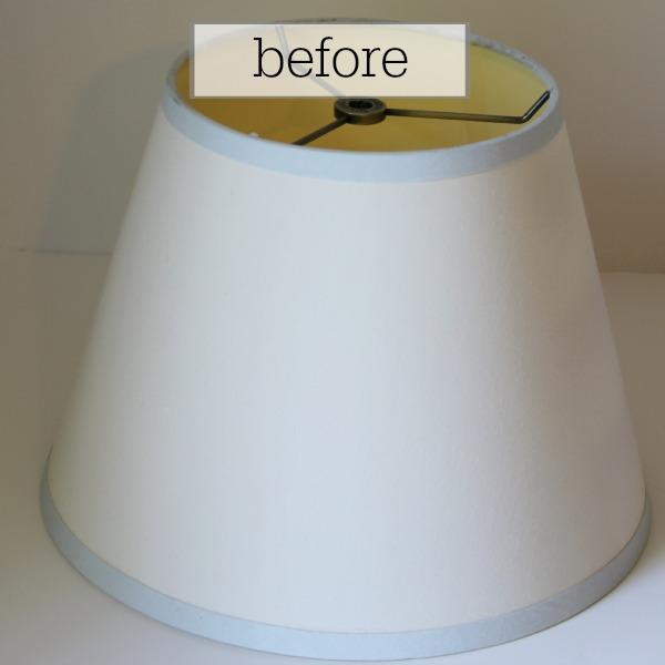 yard sale lampshade - before