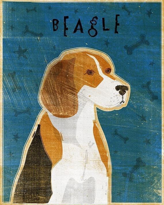 beagle print from John Golden Etsy shop