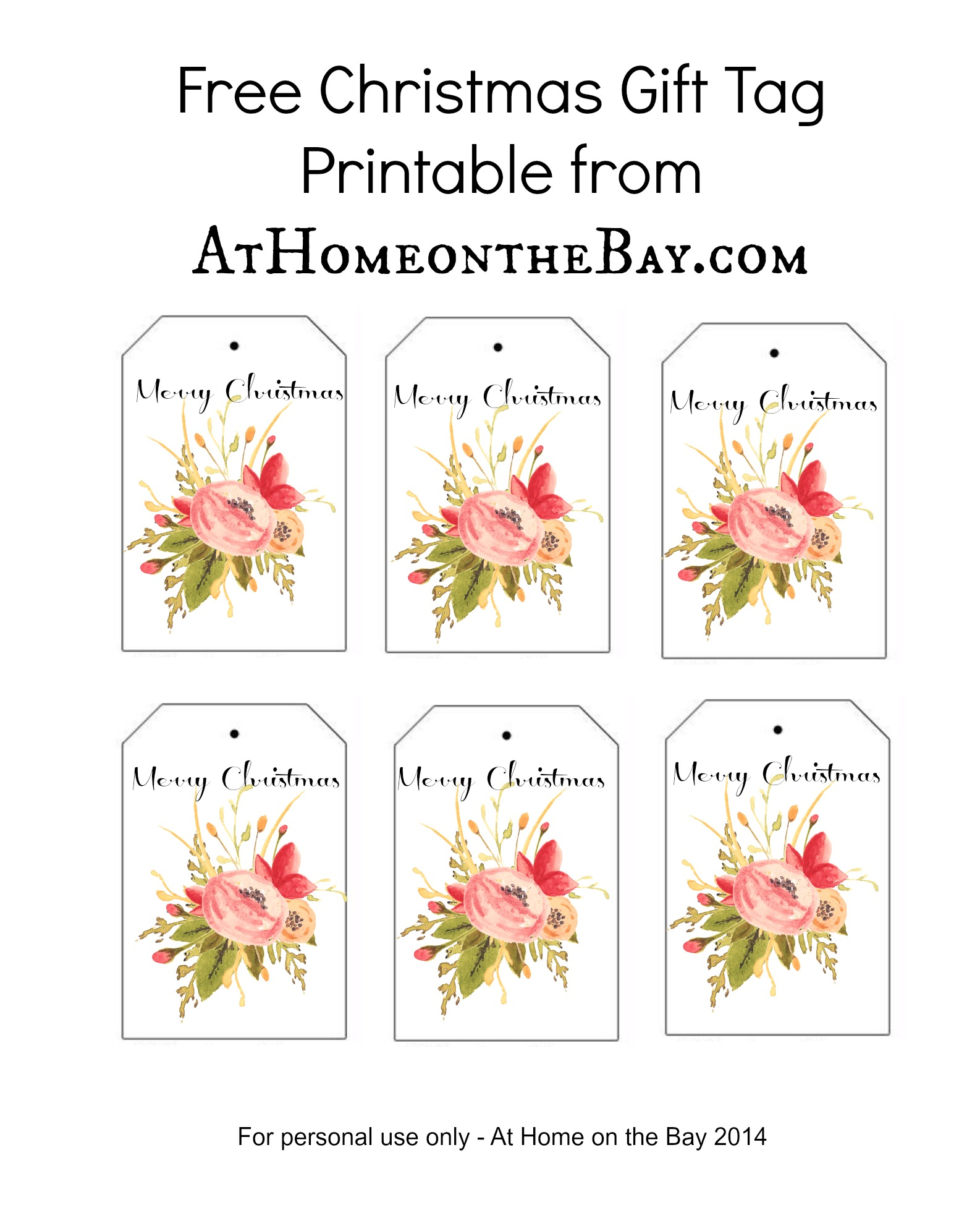 Wedding Gift Tags Free Printable : Christmas Gift Tag Printable
