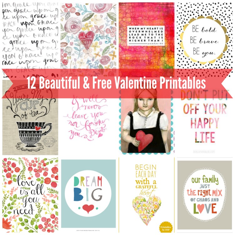 Twelve Artistic Beautiful and Free Valentine Printables