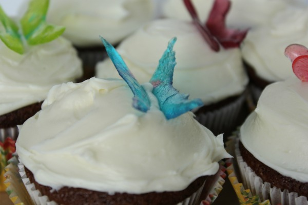 butterfly cupcake toppers using crushed Jolly Ranchers
