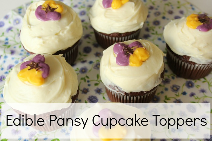 Edible Pansy Cupcake Toppers