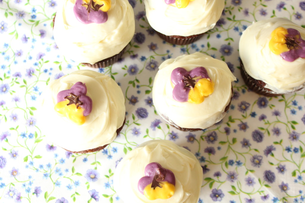 candy melt pansy cupcake toppers
