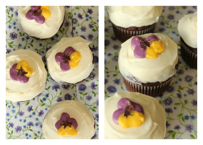 Edible Pansy Cupcake Toppers  - made with candy melts - tutorial on At Home on the Bay