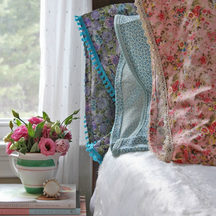 mismatched floral bedding
