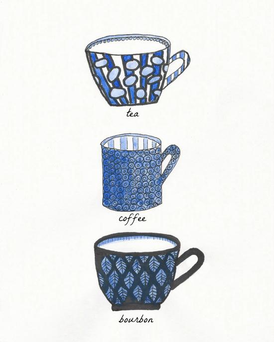 tea, coffee, bourbon art print