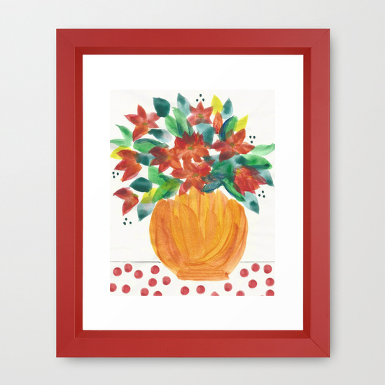 art print with red frame
