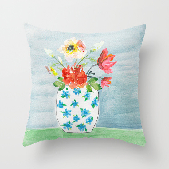 Society6 Shop is Open - watercolor flower pillow