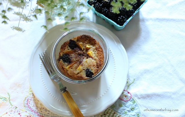 Peach and Blackberry Cake in a Jar
